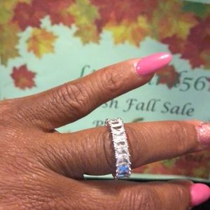 New Princess Cut Natural White Ring
